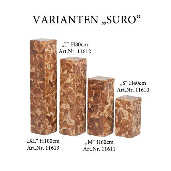 Teak Säule SURO-S ca. H40cm Natural – Bild 3