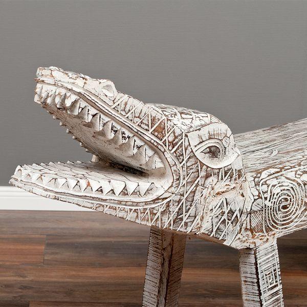 Sitzbank KROKO White Wash ca. L170-200cm Suar-Holz – Bild 4