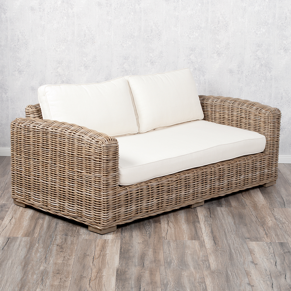 2 Sitzer Lounge Sofa LIVING Kubu Grey Rattan in Grey ca