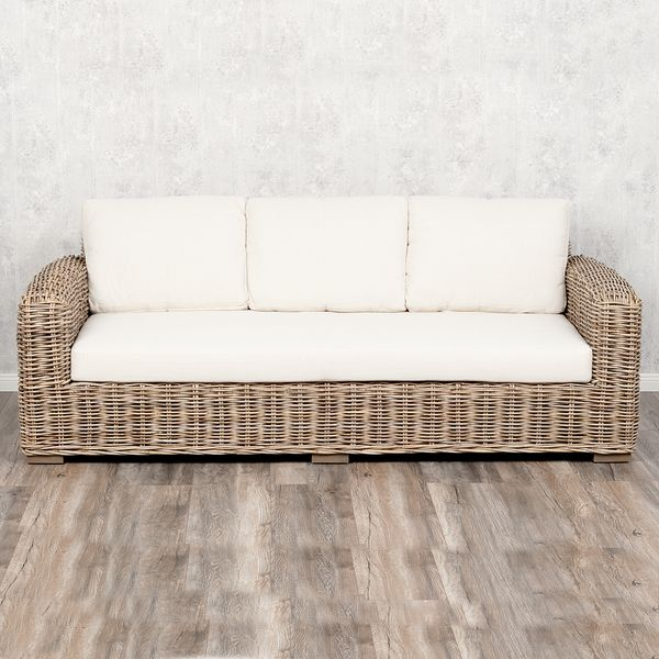 3-Sitzer Lounge Sofa LIVING Rattan in Grey ca. L200cm – Bild 2