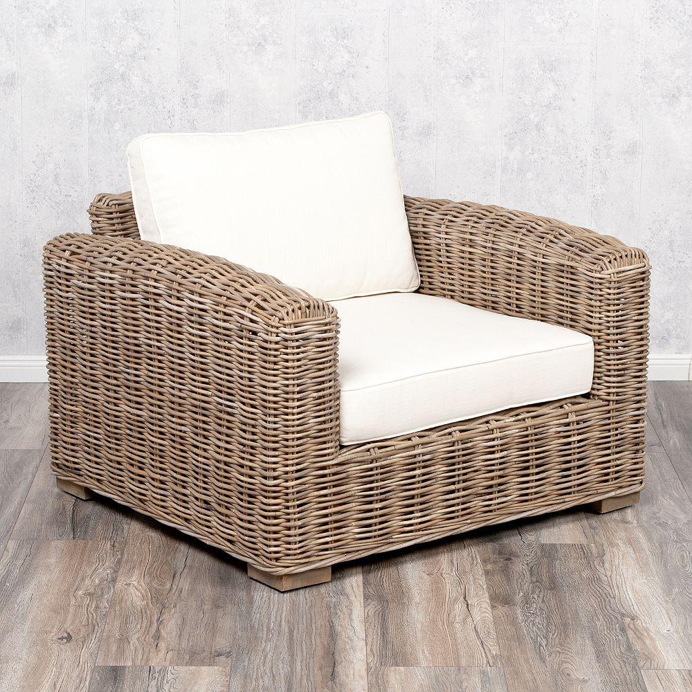 Lounge Sessel LIVING Rattan in Grey ca B100cm 7258