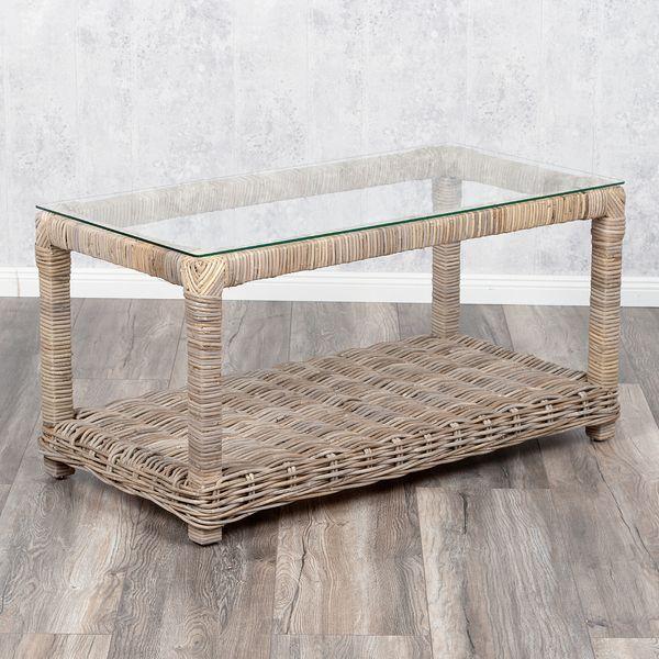 Lounge Couchtisch LIVING Rattan 100x50cm in Grey – Bild 1