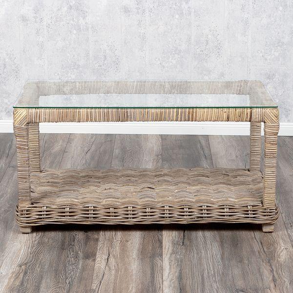 Lounge Couchtisch LIVING Rattan 100x50cm in Grey – Bild 3