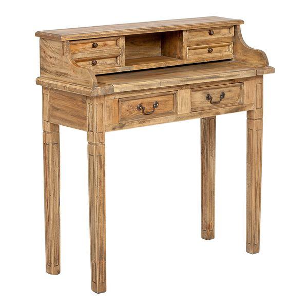 Sekretär ILENA Antique-Natural ca. L100cm Mahagoni Massivholz Schreibtisch – Bild 1