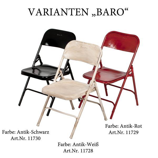 Metall Klappstuhl BARO Antik-Schwarz Vintage Used Look – Bild 7