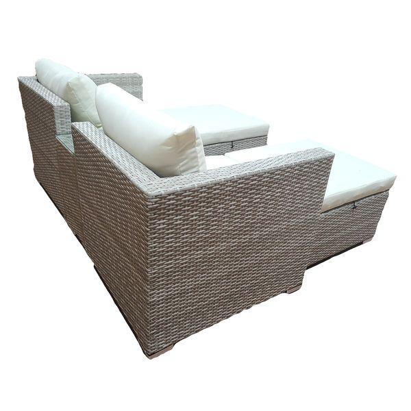 Polyrattan Loungegruppe FARIN Grey Wash inkl. Kissen – Bild 4
