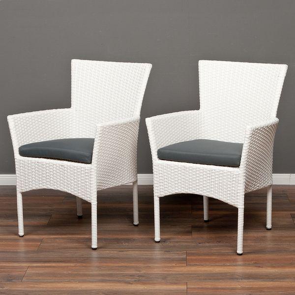 2tlg. Set Polyrattan Sessel AMAR Weiß – Bild 1