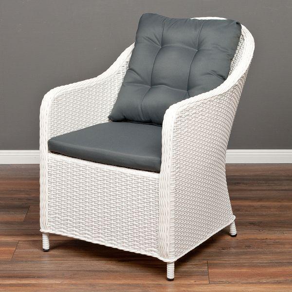 Polyrattan Stuhl ADAR Weiß – Bild 1