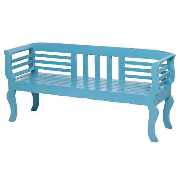Sitzbank SALONIKI Antik-Blau ca. L168cm Mahagoni – Bild 1