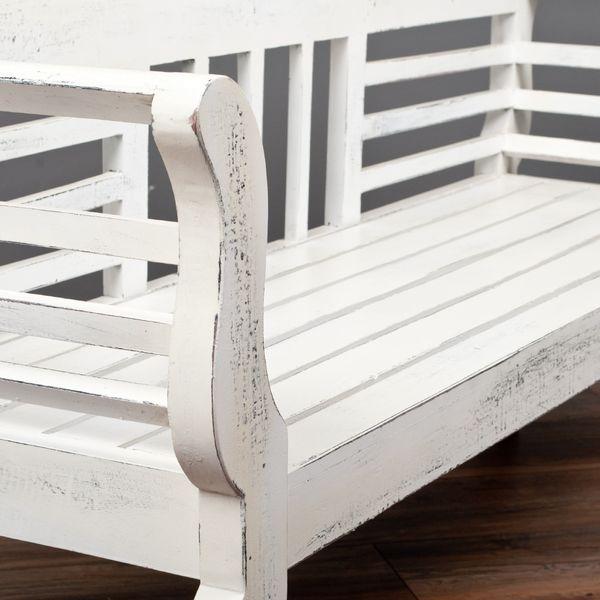 Sitzbank SALONIKI Antik-Weiß ca. L168cm Mahagoni – Bild 4