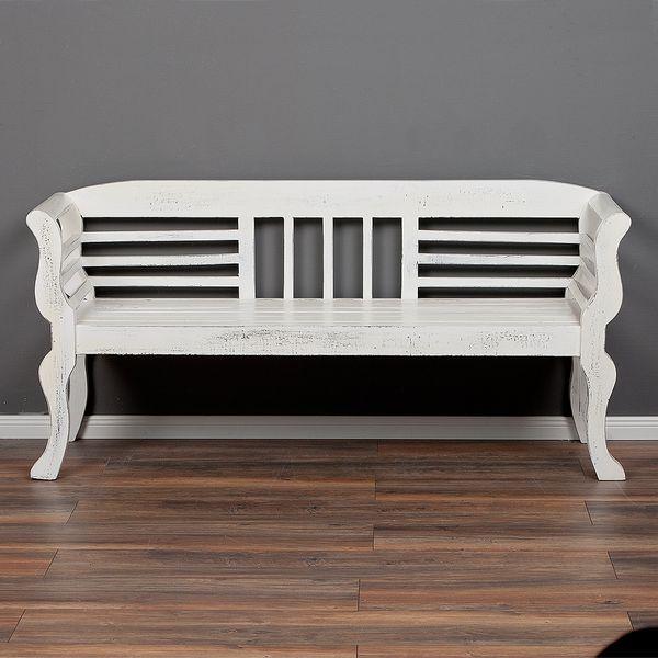 Sitzbank SALONIKI Antik-Weiß ca. L168cm Mahagoni – Bild 2