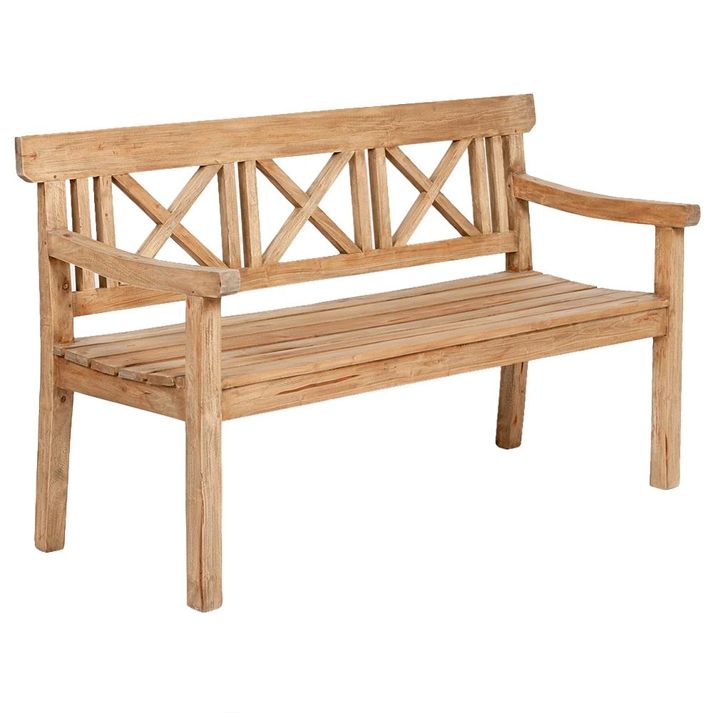 3-Sitzer Bank DRAHMA Antik-Natural ca. L150cm Mahagoni