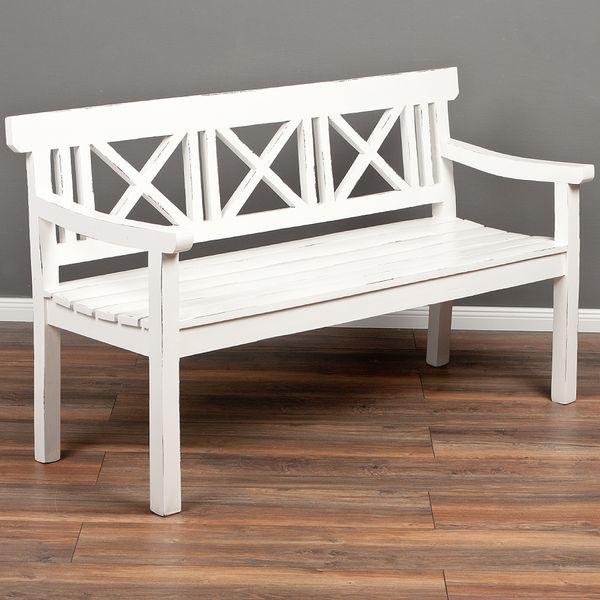 3-Sitzer Bank DRAHMA Antik-Weiß ca. L150cm Mahagoni – Bild 1