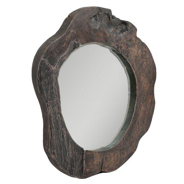 Teak Spiegel MENGIRIS ca. D50-60cm Black-Wash – Bild 2