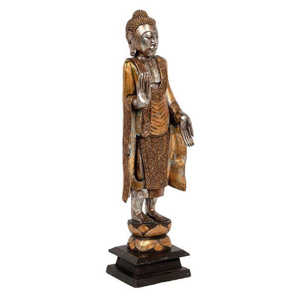 Buddha-Figur PIEDI Gold Handarbeit Albasia – Bild 1