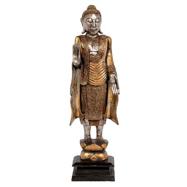 Buddha-Figur PIEDI Gold Handarbeit Albasia – Bild 2