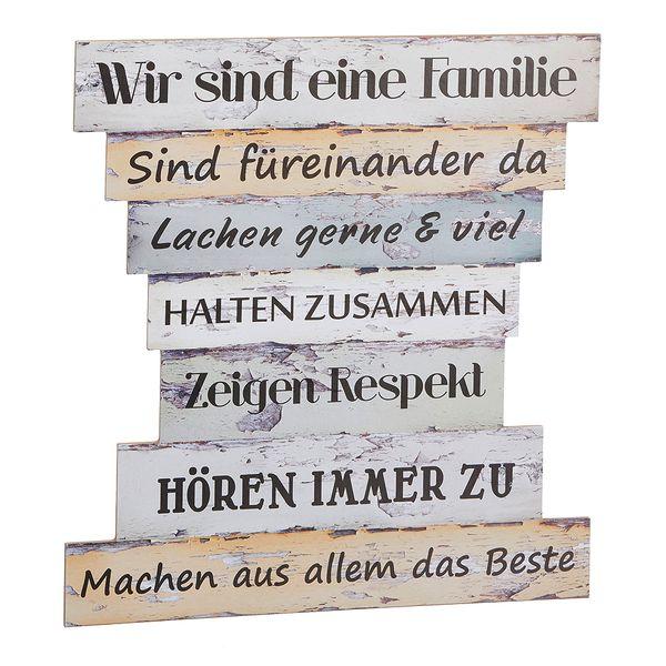 Holzschild FAMILIENREGELN ca. 30x32cm