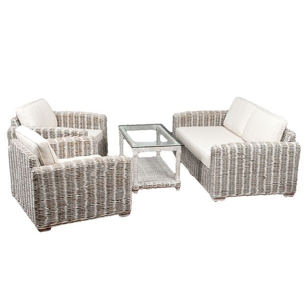 4tlg. Loungemöbel-Set Sitzgruppe LIVING Rattan White Wash – Bild 7