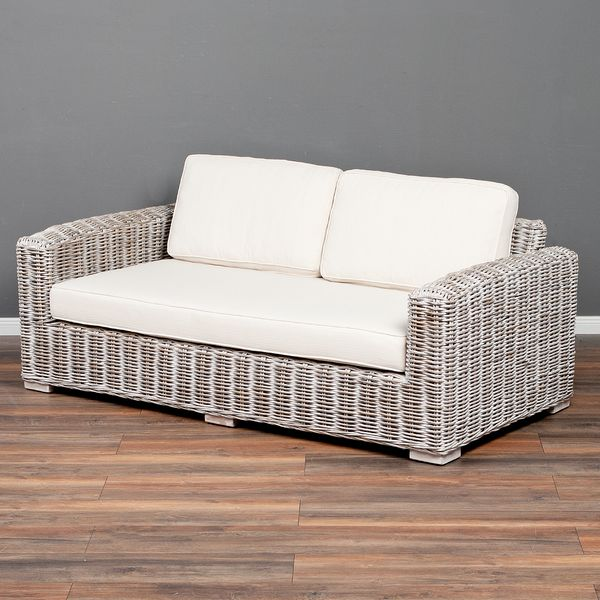 4tlg. Loungemöbel-Set Sitzgruppe LIVING Rattan White Wash – Bild 2