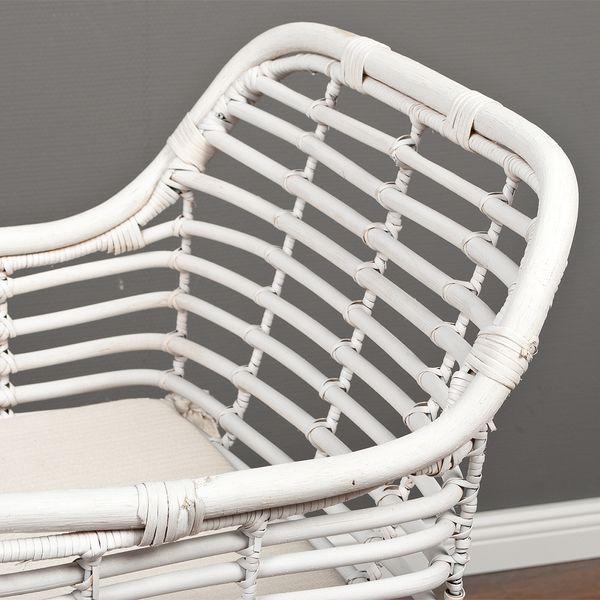 Rattan Armlehnstuhl DETROIT Weiß – Bild 5