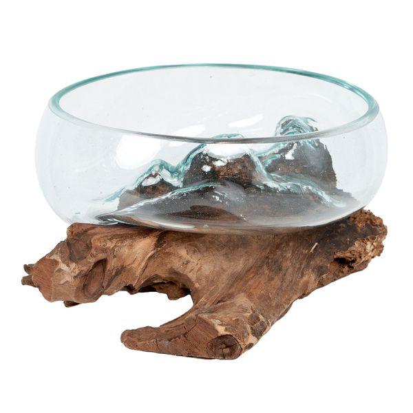 Deko-Glas DROP-7 Teak Vase Schale Handarbeit – Bild 1