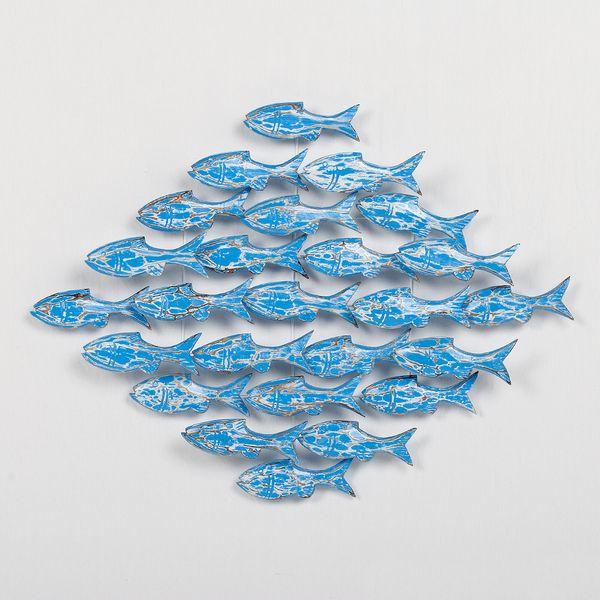 Wand-Deko IKAN Blue Wash ca. 80x80cm Albasia Holz Fische – Bild 1