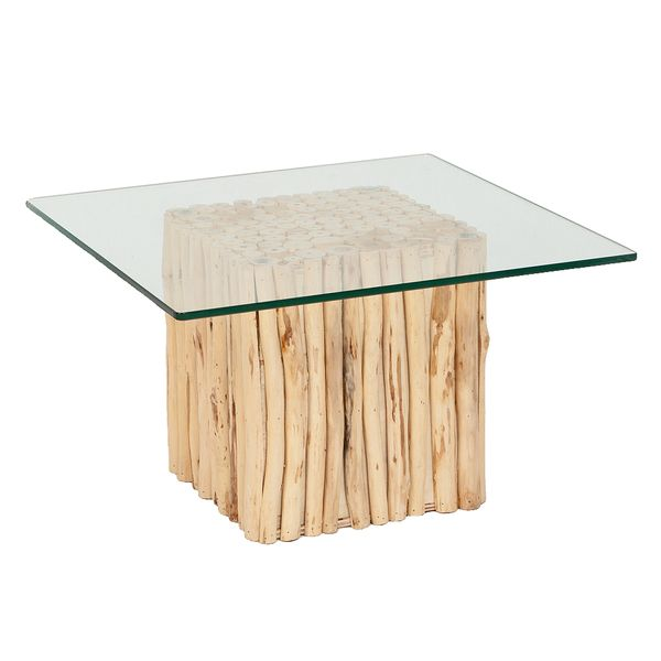 Teak Couchtisch NICO Natural inkl. Glasplatte ca. 60x60cm – Bild 1