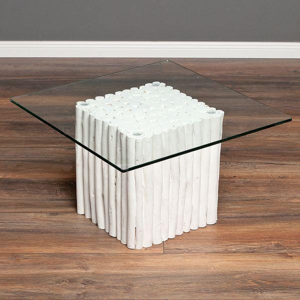 Teak Couchtisch NICO Weiß inkl. Glasplatte ca. 60x60cm – Bild 1
