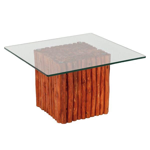 Teak Couchtisch NICO Braun inkl. Glasplatte ca. 60x60cm – Bild 1
