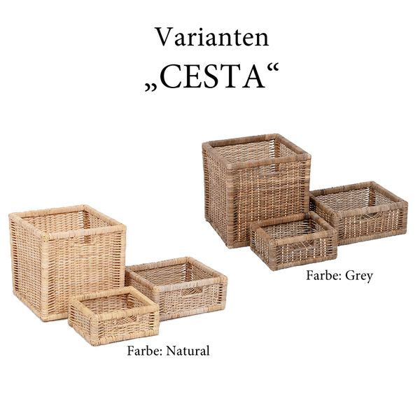 Rattan Korb CESTA-Med Grey – Bild 3