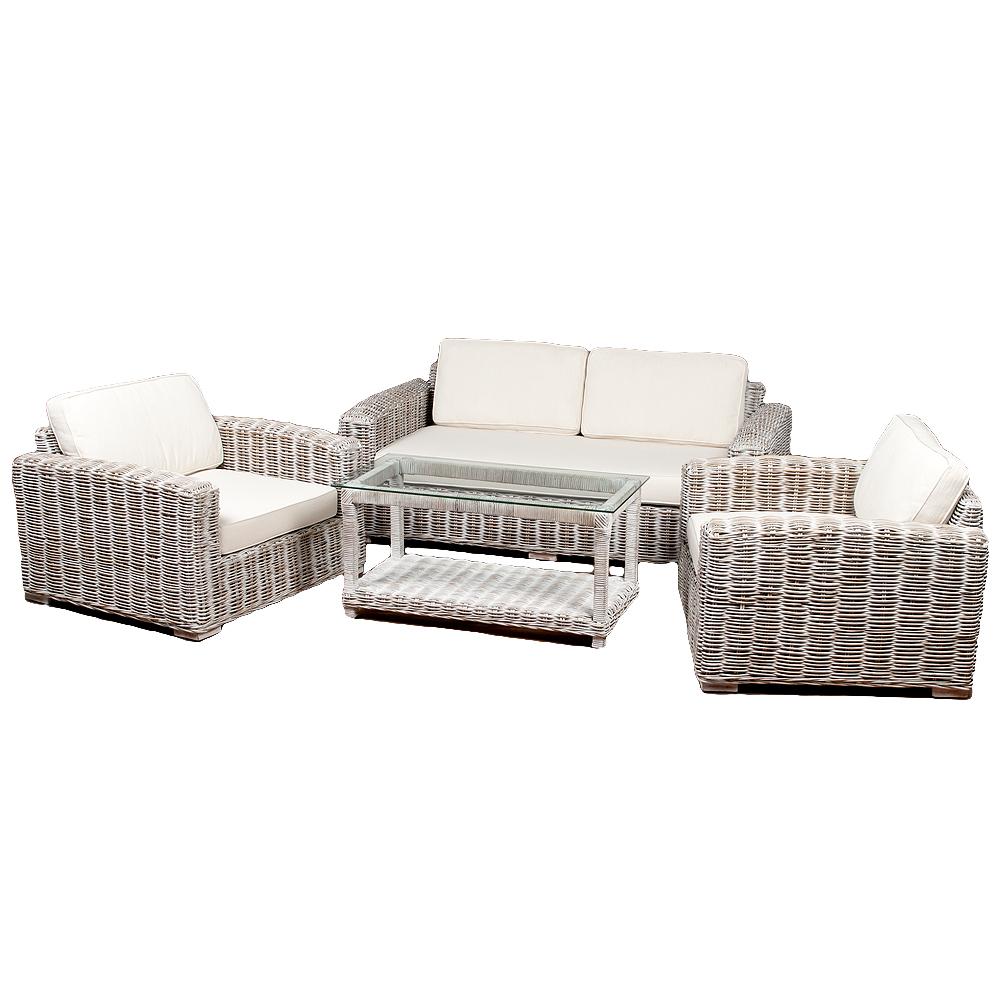 4tlg. Loungemöbel-Set Sitzgruppe LIVING Rattan White Wash