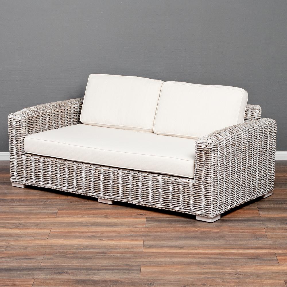 Lounge Sofa LIVING White Wash ca. L180cm Rattan