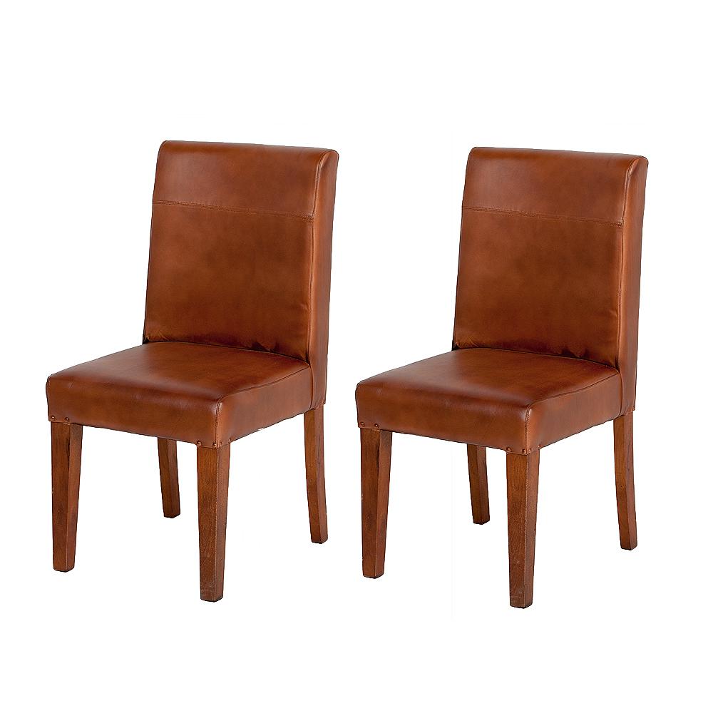 2er Set Leder Stuhl CLASSICO Cognac