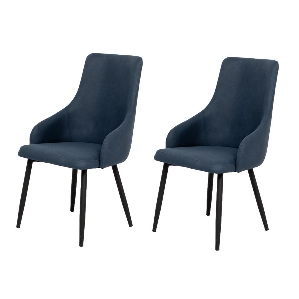 2er Set Stuhl HANNA blau Stoffbezug