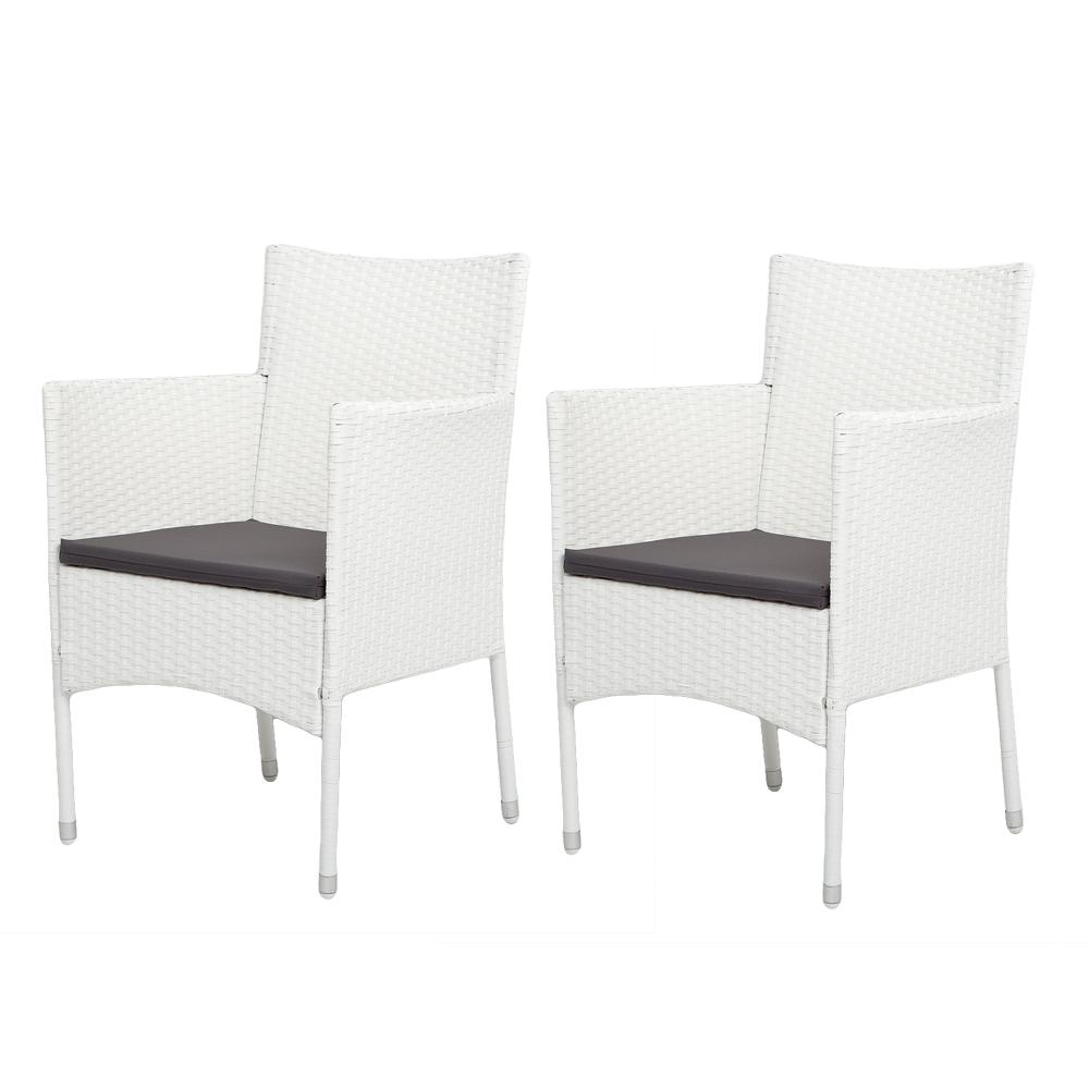 2er-Set Armlehnstuhl SHARON Polyrattan Weiß