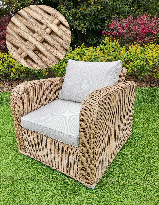 Lounge Sessel VITA rundes Polyrattan Natural