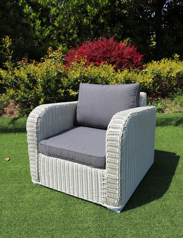 Lounge Sessel VITA rundes Polyrattan Weiß