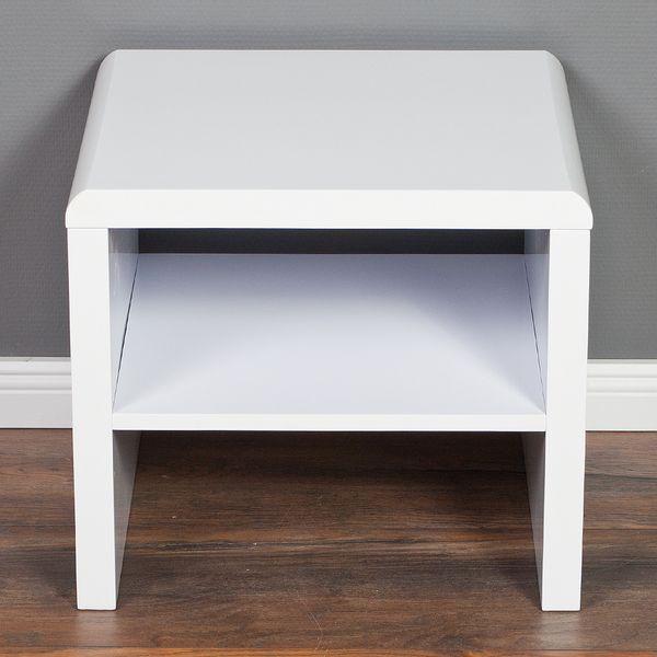 Nachttisch CHARLIE mit Ablage Hochglanz Weiß – Bild 3