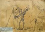 Franz Bonn Winfried von Miller Karikatur Maler Staffelei 001