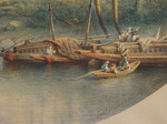 Aquarell Johannes Hilverdink Ägypten egypt Philae Tempel Isis Assuan Nil Dhau Dhow Segelboot Orient 004