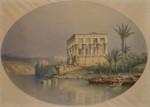 Aquarell Johannes Hilverdink Ägypten egypt Philae Tempel Isis Assuan Nil Dhau Dhow Segelboot Orient 005