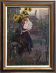 Gemälde Liebespaar Garten Schrebergarten Laubenpieper Berlin Sonnenblumen Geranien Zille