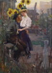 Gemälde Liebespaar Garten Schrebergarten Laubenpieper Berlin Sonnenblumen Geranien Zille Bild 2