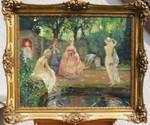 Gemälde Walter Geffcken Frauenbad Akt Erotik Teich Park Bad nude Jugendstil art nouveau Rokoko