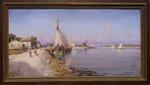 Gemälde Josef Langl Nil Ägypten Egypt Luxor Edfu Esna Kom Ombo Dau Feluke Esel Dobřany Wien  001
