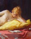 Gemälde Max Rabes Posen Poznan Szamotuly Samter Berlin Wien Lesen Buch Orient Akt Erotik nude Jugendstil Bild 3