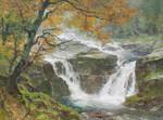 Gemälde Edward Harrison Compton Junge Elbe Riesengebirge Krkonoše Wildwasser Kaskade Wasserfall Feng Shui Zauberwald Bild 2