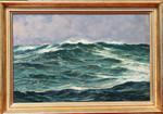 Gemälde Claus Bergen Nordsee Atlantik  Marine navy Helgoland  Wellen Seestück Raimund Gries