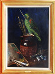 Gemälde Arthur Wardle London Maler Malplatte Pinsel Atelier Papagei parrot painter 001