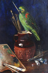 Gemälde Arthur Wardle London Maler Malplatte Pinsel Atelier Papagei parrot painter 002